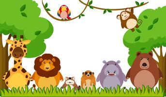 Modello di sfondo con animali selvatici nel parco