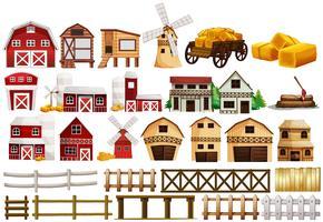 Design diverso di fienili e recinzioni