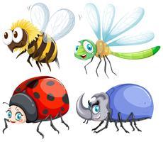 Diversi tipi di insetti che volano vettore