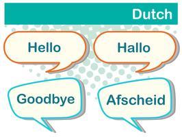 Saluto parole in lingua olandese vettore