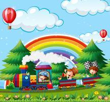 Bambini che viaggiano in treno nel parco vettore