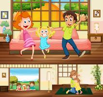 Famiglia che soggiorna in casa vettore