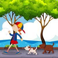 Ragazza e due cani che camminano sulla strada