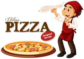 Chef facendo pizza italiana vettore