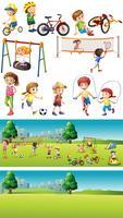 Park scene con bambini che praticano sport vettore