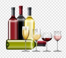 Diversi tipi di vino e bicchieri