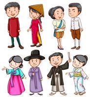 Persone che mostrano la cultura asiatica vettore