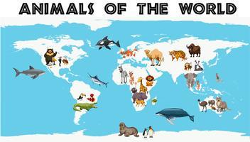 Diversi tipi di animali in tutto il mondo sulla mappa
