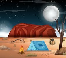 Campeggio alla scena del deserto vettore