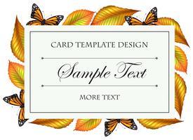 Modello di carta con farfalle e foglie gialle vettore