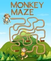 Gioco del labirinto con le scimmie nella foresta vettore