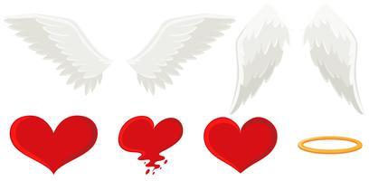 Ali d'angelo e cuore vettore