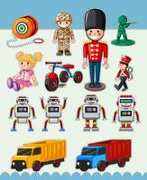 Design adesivo con molti tipi di giocattoli vettore