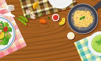 Disegno di sfondo con cibo sul tavolo