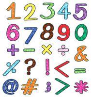 Numeri colorati e operazioni matematiche vettore