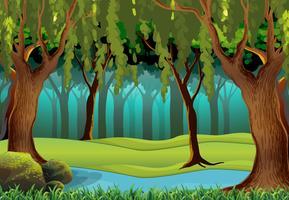 Scena con alberi nella giungla vettore