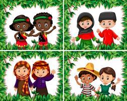 Set di diversi bambini nel bordo della foglia