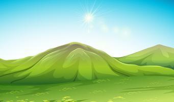 Scena della natura con la montagna verde vettore