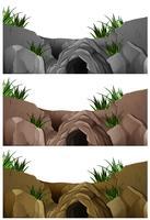 Tre scene di grotte nella montagna rocciosa vettore