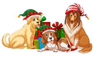 Tema natalizio con cani e scatole presenti