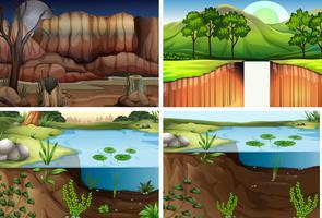 Set di scena diversa natura vettore