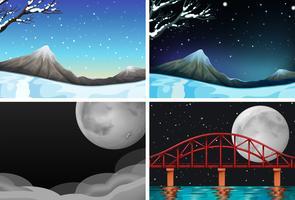 Set di diverse scene di natura bellissima vettore