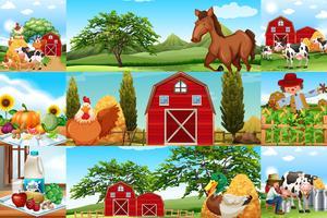 Scene di fattoria con molti animali e contadini vettore