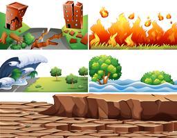 Set di scene di disastri naturali vettore