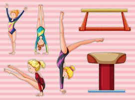 Set di adesivi per donne che fanno ginnastica vettore