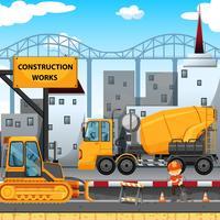Lavori di costruzione lungo la strada vettore