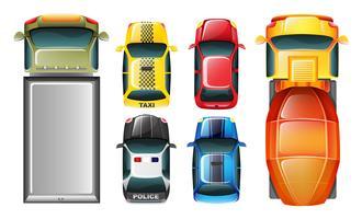 Un topview dei veicoli parcheggiati vettore