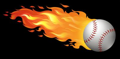 Baseball in fiamme vettore