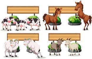 Animali da fattoria in piedi dal segno