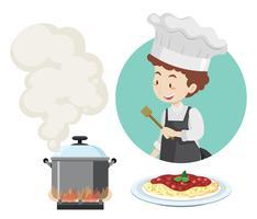 Chef maschio e pentola sul fornello vettore