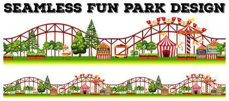 Divertente design del parco divertimenti con tante giostre vettore