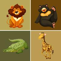 Quattro tipi di animali selvatici su sfondo marrone