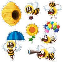 Disegno dell'autoadesivo con alveare e molte api