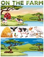 Tema di fattoria con animali da fattoria e terreni agricoli vettore