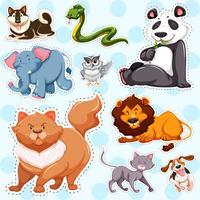 Set di adesivi di animali selvatici su sfondo blu