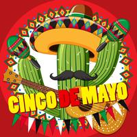 Modello di carta Cinco de Mayo con cactus e chitarra vettore