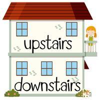 Di fronte alla wordcard per al piano di sopra e al piano di sotto vettore