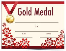 Modello di certificato con medaglia d'oro