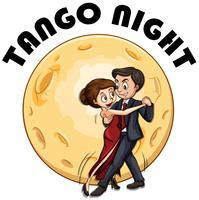 Coppia che balla in una notte di luna piena vettore