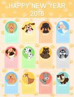 Modello di calendario con molti cani per ogni mese vettore