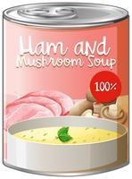 Zuppa di prosciutto e funghi in scatola