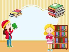 Modello di confine con ragazze che leggono il libro vettore