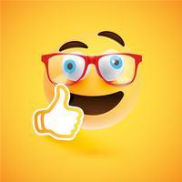 Emoticon con pollice in alto, illustrazione vettoriale