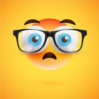 Emoticon giallo 3D con gli occhiali, illustrazione vettoriale
