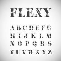 Set di caratteri flessuosi, illustrazione vettoriale