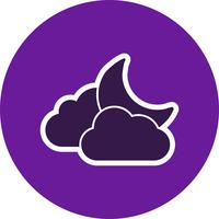 Icona di vettore di luna e nuvole